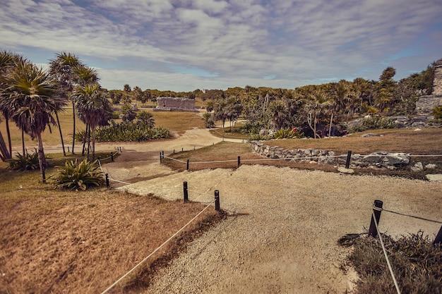 Vue sur le parc du site archéologique des ruines mayas de tulum au mexique.