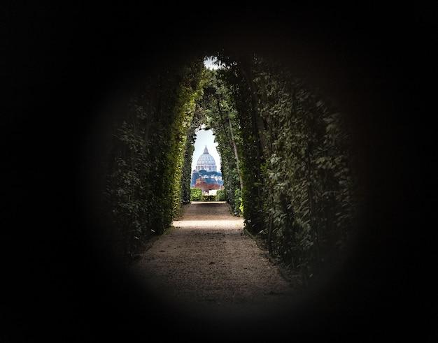 Une vue particulière de la coupole de saint-pierre. cité du vatican - rome