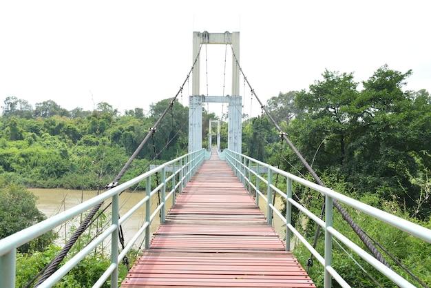 Vue paysage du pont suspendu en acier long