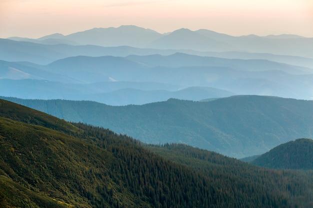 Vue de paysage de majestueuses montagnes des carpates vertes couvertes de brume légère à l'aube.