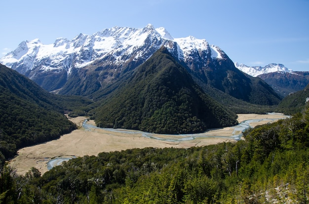 Vue paysage de routeburn track kinloch nouvelle-zélande