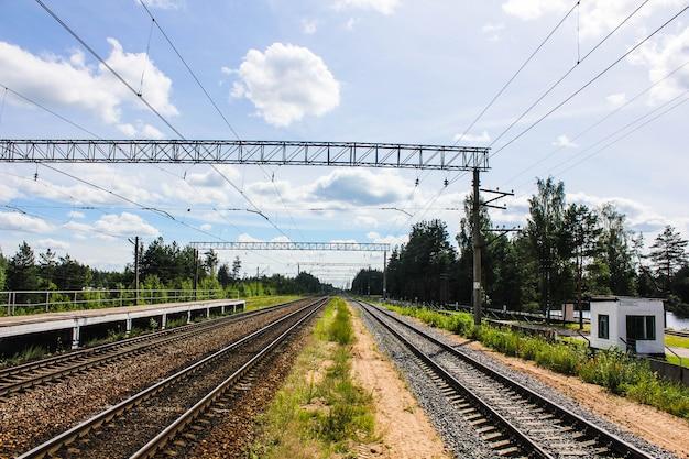 Vue en perspective d'un champ vert avec pissenlits et chemin de fer s'enfuyant sous un ciel bleu et des arbres verts