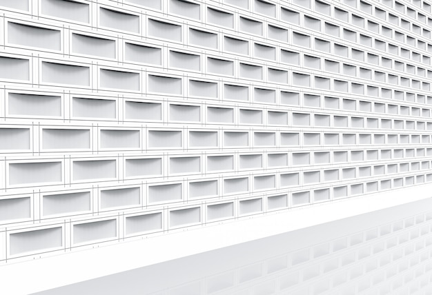 Vue en perspective du mur de pile de briques de rectangle blanc moderne et chemin