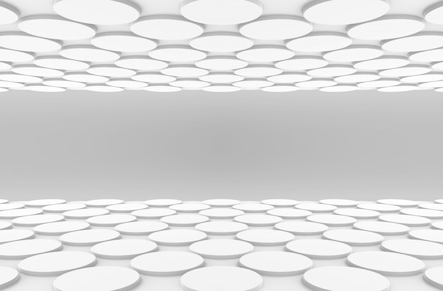 Vue en perspective du sol en forme de bouton rond blanc