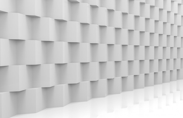 Vue en perspective de la pile moderne abstraite du mur de boîtes au hasard blanc cube de luxe aléatoire