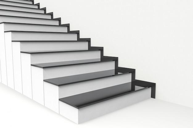 Vue en perspective d'une plaque noire moderne sur fond d'escaliers en ciment blanc.