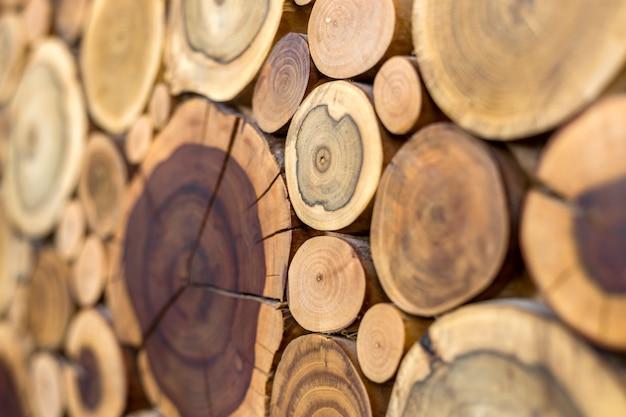Vue en perspective de rond en bois non peint solide naturel écologique doux et coloré brun et jaune souches craquelées fond, sections d'arbres coupées avec anneaux annuels de différentes tailles, texture d'arrière-plan.