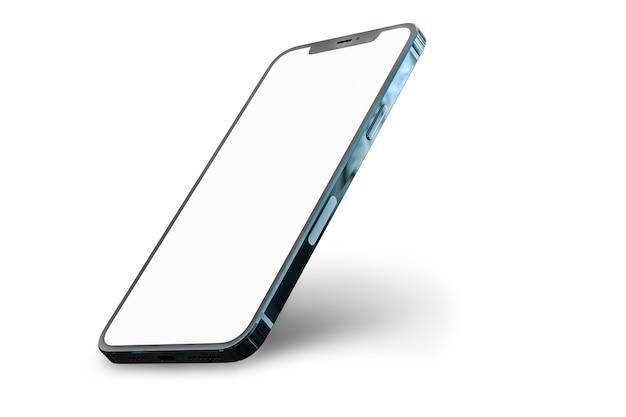 Vue en perspective smartphone avec écran blanc vierge