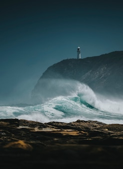 Vue sur le phare de castle point, nouvelle-zélande