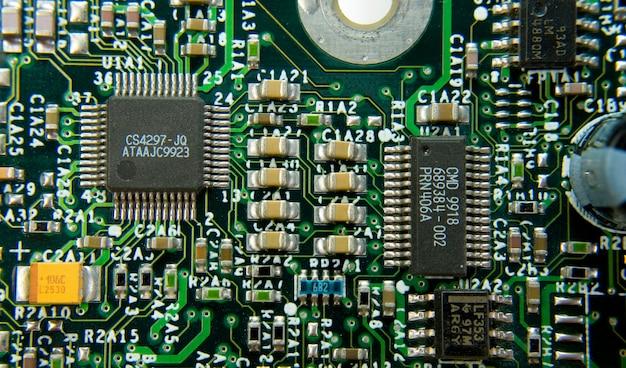 Vue sur les pièces de la carte mère de l'ordinateur. utiliser pour le fond ou la texture