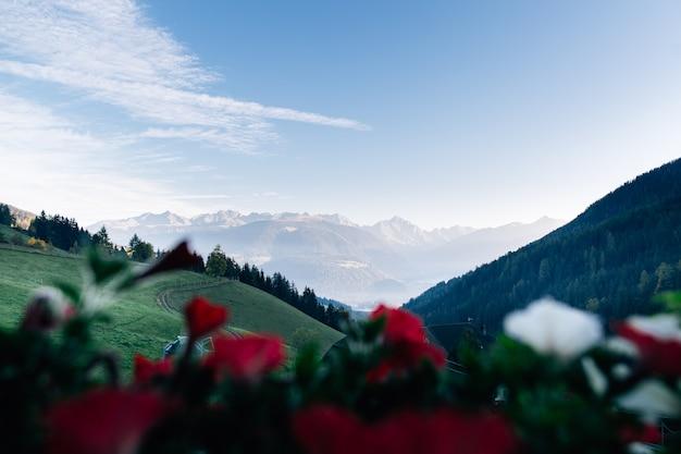 Vue pittoresque sur les dolomites italiennes depuis la fenêtre.