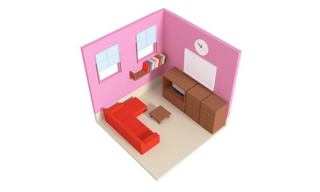 Vue en plan d'un appartement. rez-de-chaussée. design d'intérieur 3d clair