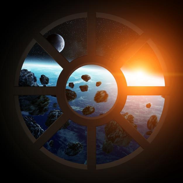 Vue de la planète terre depuis une cabine de vaisseau spatial
