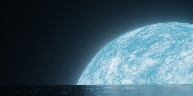Vue de la planète terre depuis l'espace extra-atmosphérique et la réflexion plancher de science-fiction grunge