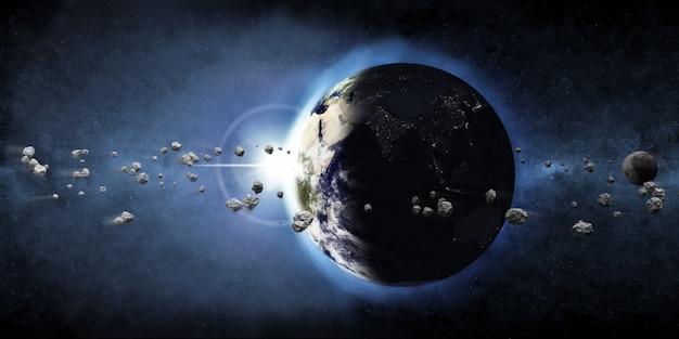 Vue sur la planète terre depuis l'espace