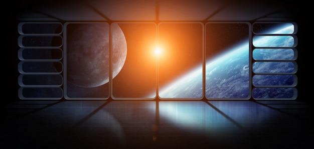 Vue de la planète terre depuis une immense fenêtre de vaisseau spatial, éléments de rendu 3d de cette image fournie par la nasa