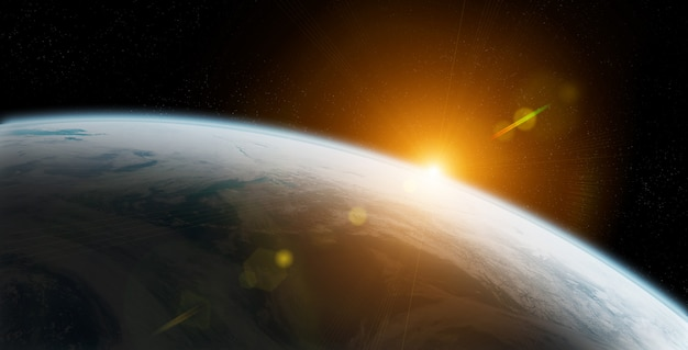 Vue de la planète terre se rapprocher de l'atmosphère au lever du soleil