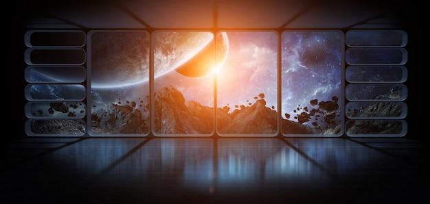 Vue des planètes depuis une immense fenêtre de vaisseau spatial, éléments de rendu 3d de cette image fournie par la nasa