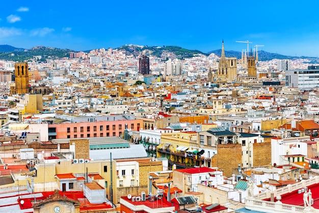 Vue de la plus grande rue rambla à barcelone
