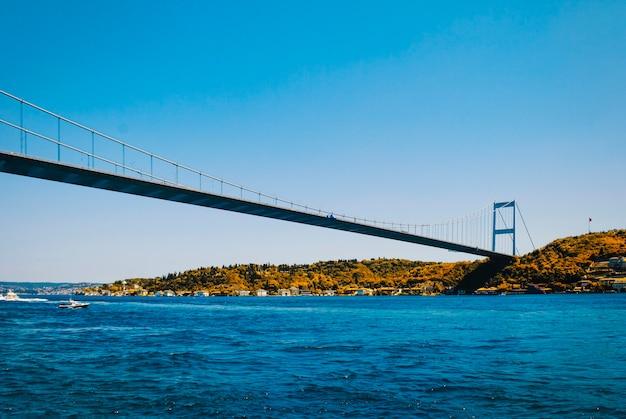 Une vue sur le pont fatih sultan mehmet et le bosphore à partir d'un remblai