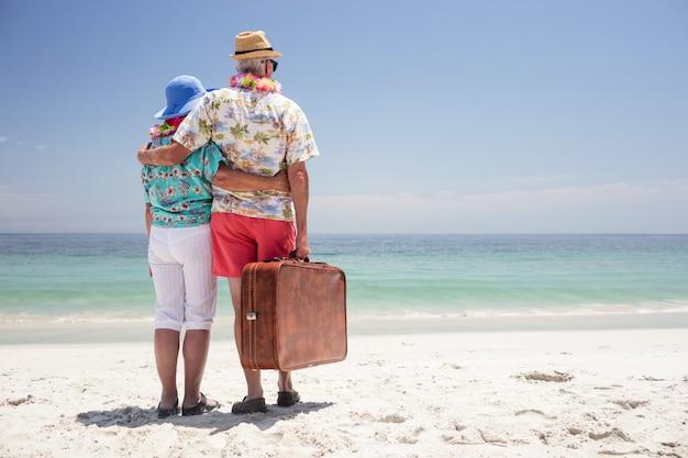 Vue postérieure, de, couples aînés, porter, a, guirlande, et, regarder mer