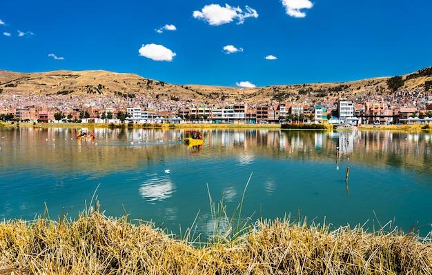 Vue de puno du lac titicaca au pérou