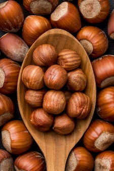 Vue rapprochée de l'arrangement de concept de noix