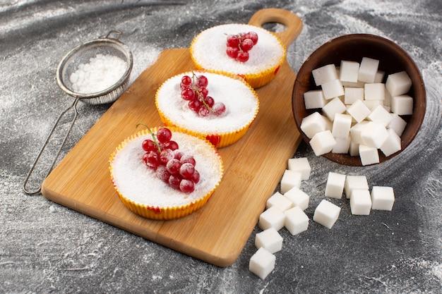 Vue rapprochée avant de délicieux gâteaux aux canneberges aux canneberges rouges sur le dessus