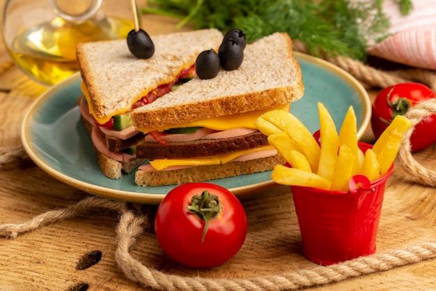 Vue rapprochée avant de savoureux sandwich aux olives, jambon et tomates à l'intérieur de la plaque avec frites