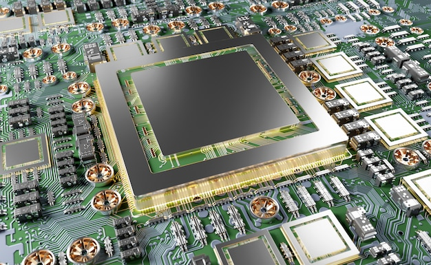 Vue rapprochée d'une carte gpu moderne avec circuit