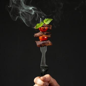 Vue rapprochée d'un délicieux arrangement alimentaire