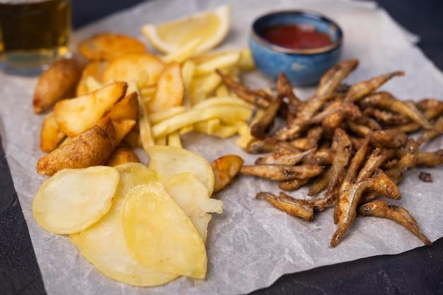 Vue rapprochée de délicieux fish and chips
