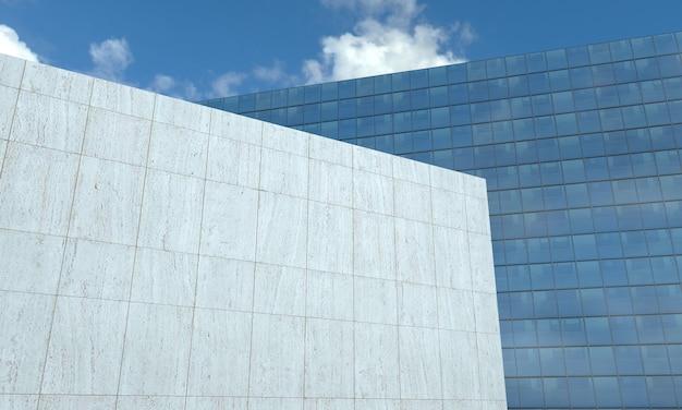 Vue rapprochée du bâtiment rendu 3d