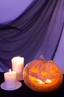 Vue rapprochée du concept de citrouille d'halloween