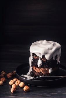 Vue rapprochée du concept de délicieux gâteau