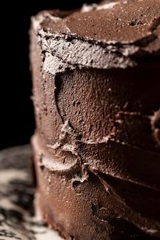 Vue rapprochée du concept de gâteau au chocolat