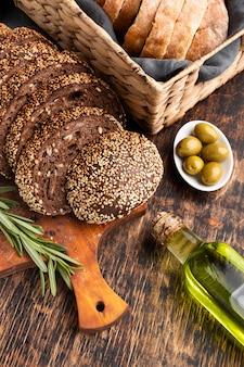 Vue rapprochée du concept de pain aux graines