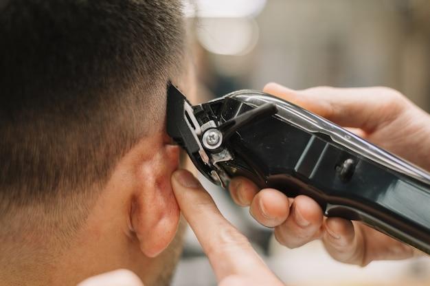 Vue rapprochée du concept de salon de coiffure