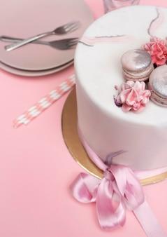 Vue rapprochée du délicieux gâteau d'anniversaire