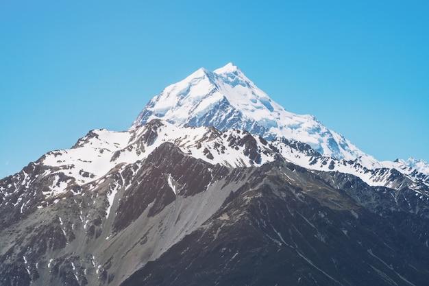 Vue rapprochée du mont cook en nouvelle-zélande