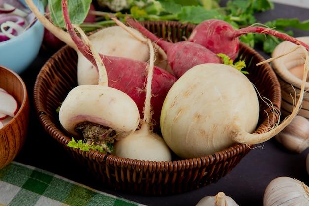 Vue rapprochée du panier plein de radis rouges et blancs sur fond marron