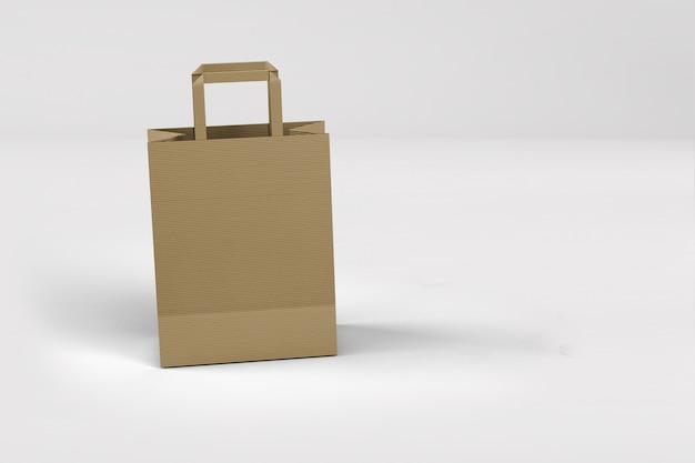 Vue rapprochée du sac à provisions en papier kraft avec poignées sur blanc
