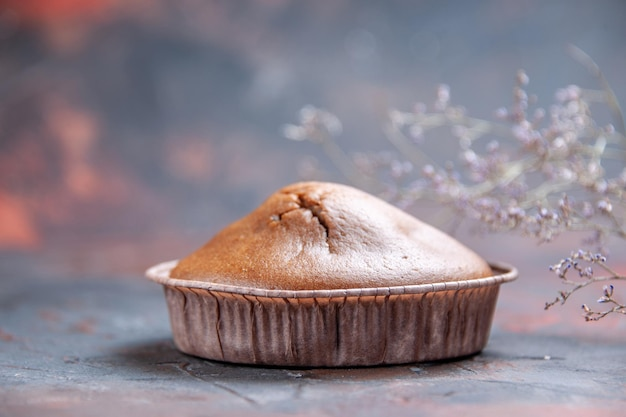 Vue rapprochée latérale cupcake un appétissant cupcake au chocolat à côté des branches d'arbres