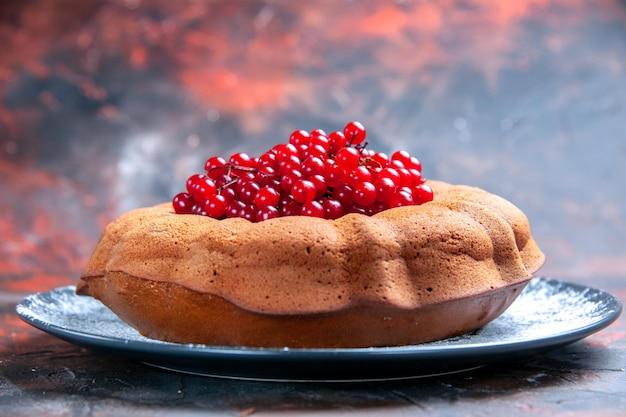 Vue rapprochée latérale savoureuse assiette grise de délicieux gâteaux et groseilles rouges