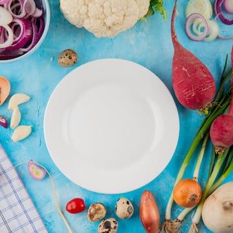 Vue rapprochée de légumes comme oeuf de radis oignon chou-fleur avec assiette vide au centre sur fond bleu