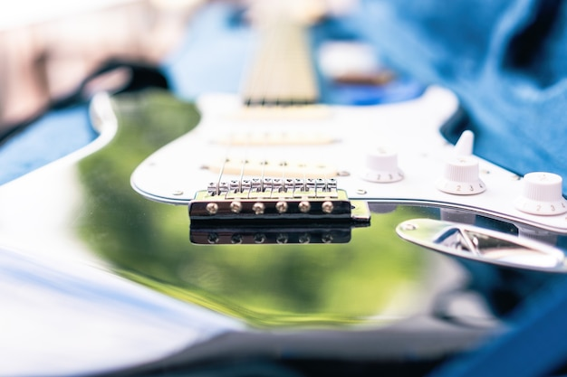 Vue rapprochée avec mise au point sélective sur les cordes d'une guitare électrique dans sa boîte