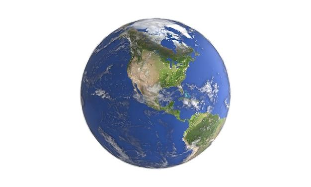Vue rapprochée de la planète terre globe carte du monde pour l'environnement de la mondialisation météorologique du changement climatique