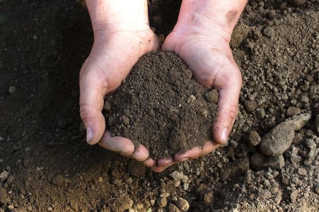 Une vue rapprochée sur le sol humidifié dans la vue de dessus des mains de l'homme