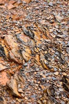Vue rapprochée de la texture du sol d'une montagne, mettant en vedette des roches et des cailloux.