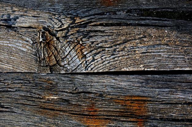 Vue rapprochée d'un vieux morceau de bois en décomposition pourri par le passage du temps.